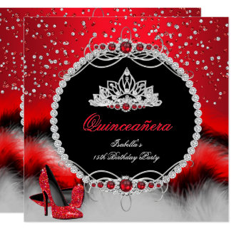 Quinceanera 15th Feather Red Pearl Glamour Heels Card