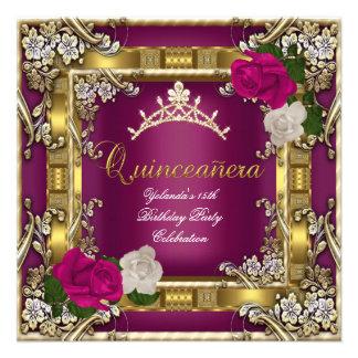Quinceanera 15th Gold Dark Pink Cream Rose Custom Invitation
