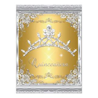 Quinceanera 15th Gold White Silver Tiara Announcements