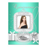 "Quinceanera 15th Green Lace Pearl Photo 5"" X 7"" Invitation Card"