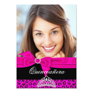 Quinceanera 15th Hot Pink Black Leopard Photo Card