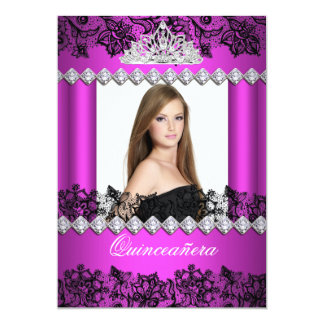 Quinceanera 15th Hot Pink Black White Lace Photo 5x7 Paper Invitation Card