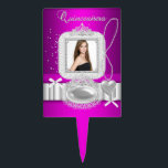 "Quinceanera 15th Hot Pink Lace Pearl Photo Cake Topper<br><div class=""desc"">Quinceanera 15th Hot Pink Quinceanera 15th Pink White Lace Pearl Photo Birthday Party Princess mis quince anos</div>"