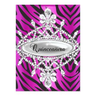 Quinceanera 15th Hot Pink Zebra Black Silver Tiara Personalized Invite