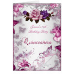 Quinceanera 15th Invite White Pink Purple Rose Greeting Card