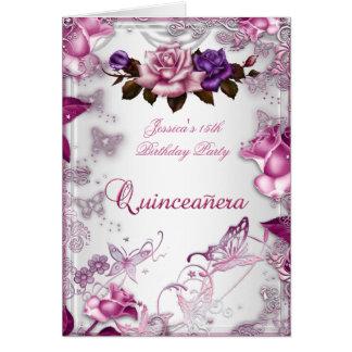 Quinceanera 15th Invite White Pink Purple Rose Card