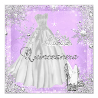 Quinceanera 15th Lilac Silver Birthday Party Card