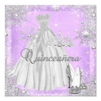 Quinceanera 15th Lilac Silver Birthday Party 5.25x5.25 Square Paper Invitation Card