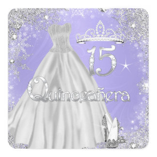 Quinceanera 15th Lilac Silver Snowflakes Party Card