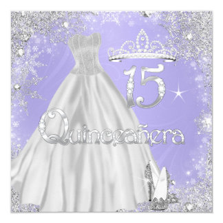 Quinceanera 15th Lilac Silver Snowflakes Party Invitation