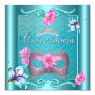 Quinceanera 15th Mask Teal Blue Pink Silver Floral Card