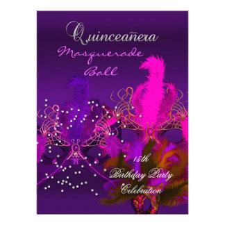 Quinceanera 15th Masquerade Purple Pink Masks Big Invites