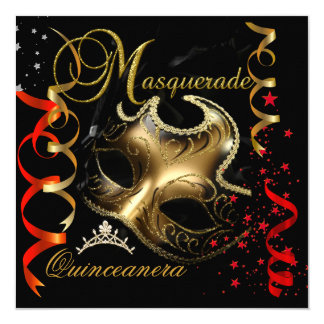 Quinceanera 15th Masquerade Red Gold Mask Card