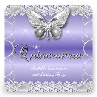 Quinceanera 15th Mauve Lace Butterfly Pearl Party Personalized Invitation