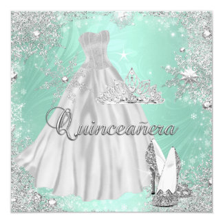 Quinceanera 15th Mint Silver Birthday Party 5.25x5.25 Square Paper Invitation Card
