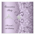 Quinceanera 15th Party Damask Lilac Jewel Image Card