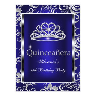 Quinceanera 15th Party Dark Blue Damask Silver Card