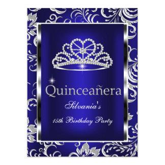 Quinceanera 15th Party Dark Blue Damask Silver Custom Invitation