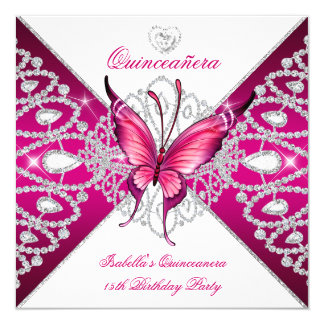 Quinceanera 15th Party Dark Pink Butterfly Tiara Invitation