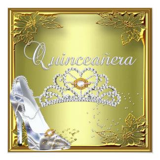 Quinceanera 15th Party Elite Avocado Green Gold 5.25x5.25 Square Paper Invitation Card