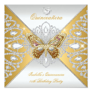 Quinceanera 15th Party Gold Silver Butterfly Tiara Card