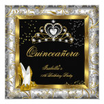 Quinceañera 15th Party Gold Silver Damask Glam Card