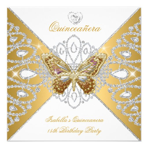 Quinceanera 15th Party Gold White Butterfly Tiara Personalized Invitation