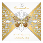 Quinceanera 15th Party Gold White Butterfly Tiara Invitation