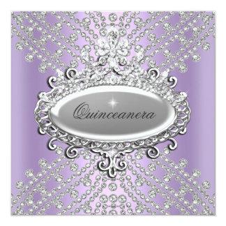 Quinceanera 15th Party Lilac Purple White Diamond Card
