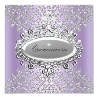 Quinceanera 15th Party Lilac Purple White Diamond Personalized Announcements
