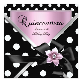 Quinceanera 15th Party Pink Black Polka Dots Announcement