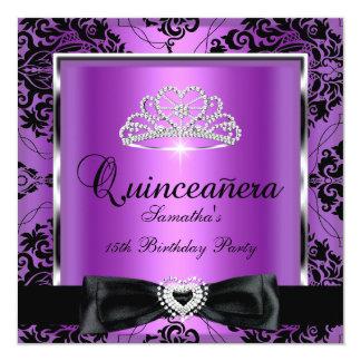 Quinceanera 15th Party Purple Damask Silver Black Invitation