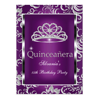 Quinceanera 15th Party Purple Plum Damask Silver Personalized Invites