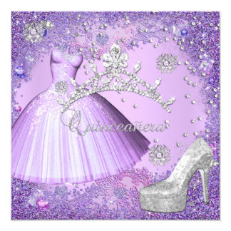 Quinceanera 15th Party Purple Tiara Dress Shoe Card