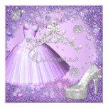Quinceanera 15th Party Purple Tiara Dress Shoe 5.25x5.25 Square Paper Invitation Card