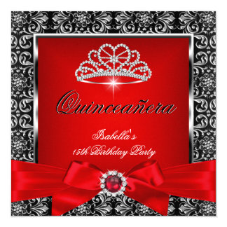 Quinceanera 15th Party Red Damask Silver Black 3 Card