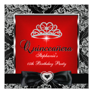 Quinceanera 15th Party Red Damask Silver Black Card