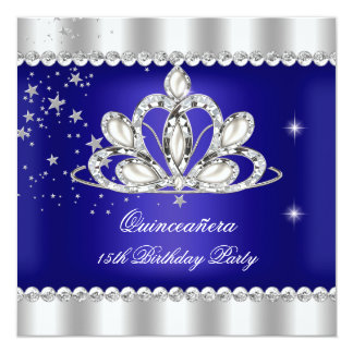 QUINCEANERA 15th Party Royal Blue Tiara Silver Personalized Invite