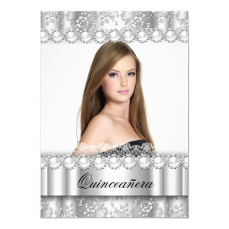 Quinceanera 15th Party Silver Damask Photo Card