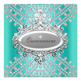 Quinceanera 15th Party Teal Blue White Diamond Card