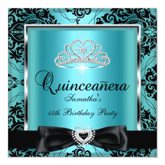 Quinceanera 15th Party Teal Damask Silver Black Card