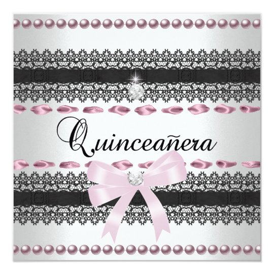 Quinceanera 15th Party White Pink Black Lace Pearl Card