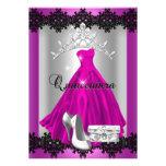 Quinceanera 15th Pink Black Silver Diamond Tiara Invitations