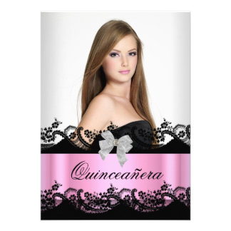 Quinceanera 15th Pink Black White Lace Photo Custom Announcements