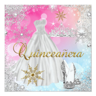 Quinceanera 15th Pink Blue Gold Elite Card