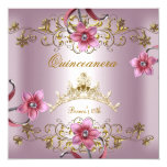 """Quinceanera 15th Pink Flowers Gold Tiara 5.25"""" Square Invitation Card"""