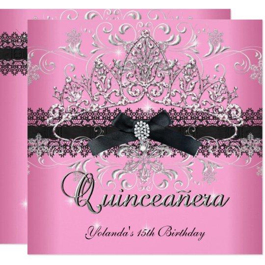 Quinceanera 15th Pink Glitter Tiara Black Bow Card