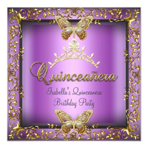 Quinceañera 15th Pink Purple Gold Butterfly Card