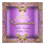Quinceañera 15th Pink Purple Gold Butterfly Custom Invitations