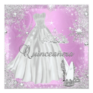 """Quinceanera 15th Pink Silver Birthday Party 5.25"""" Square Invitation Card"""